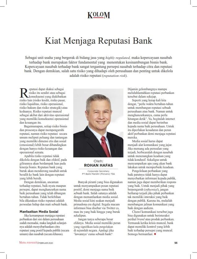 Kiat Menjaga Reputasi Bank