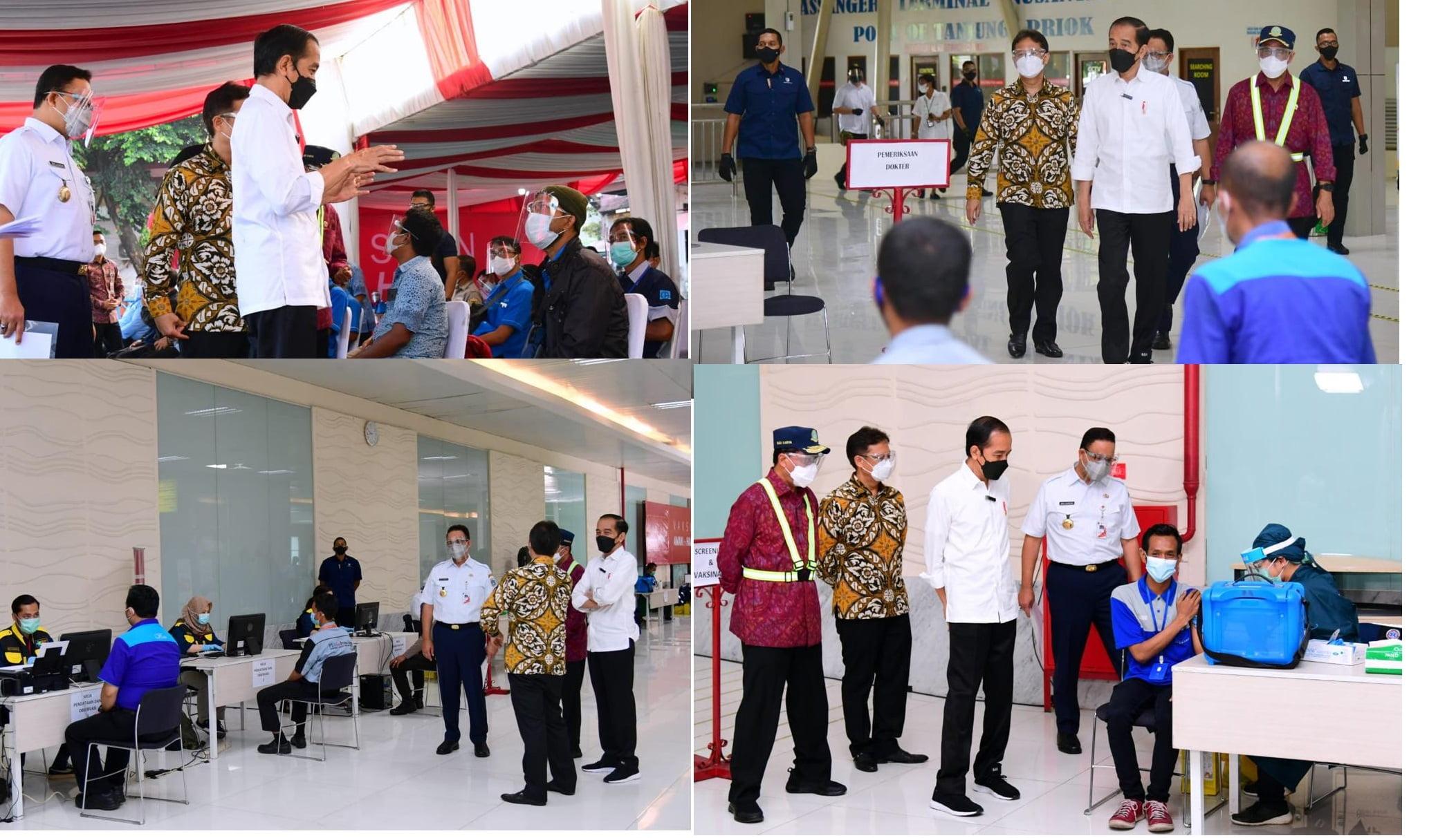 Jokowi Tinjau Vaksinasi Di Kampung Rambutan, Pelabuhan Tanjung Priok Serta Pelabuhan Sunda Kelapa